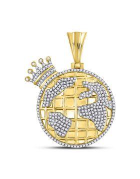 10kt Yellow Gold Unisex Round Diamond Globe Crown King Charm Pendant 3/4 Cttw