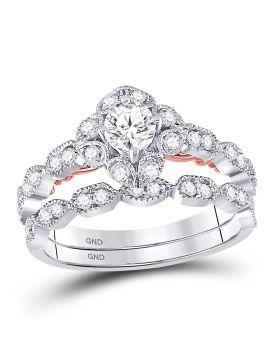 14kt Two-tone Gold Womens Round Diamond Bellina Bridal Wedding Engagement Ring Band Set 3/4 Cttw