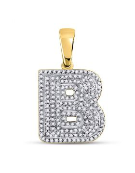 10kt Yellow Gold Unisex Round Diamond Letter B Bubble Initial Charm Pendant 1/2 Cttw
