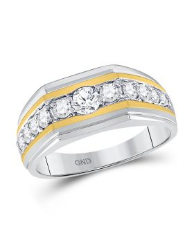 10kt Two-tone Gold Unisex Round Diamond Flat Band Ring 1.00 Cttw