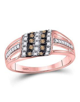 10kt Rose Gold Womens Round Brown Diamond Band Ring 1/3 Cttw