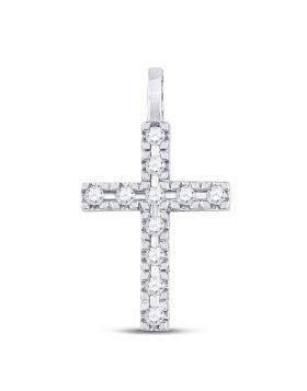 10kt White Gold Womens Round Diamond Cross Faith Pendant 1/4 Cttw