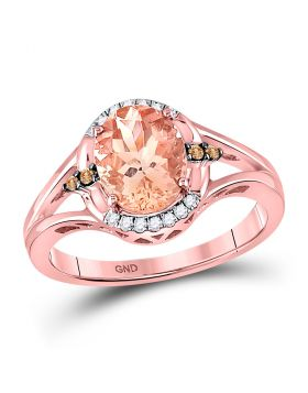 10kt Rose Gold Womens Oval Lab-Created Morganite Solitaire Diamond Ring 2.00 Cttw