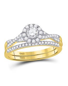 14kt Yellow Gold Womens Round Diamond Twist Bridal Wedding Engagement Ring Band Set 1/2 Cttw