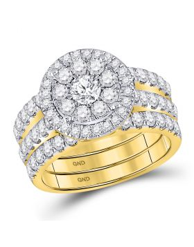 14kt Yellow Gold Womens Round Diamond Bridal Wedding Engagement Ring Band Set 2.00 Cttw