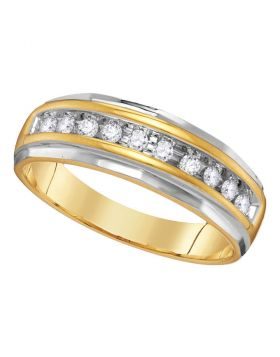 14kt Two-tone Yellow Gold Unisex Round Diamond Single Row Grooved Wedding Band Ring 1/4 Cttw