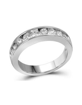 14kt White Gold Womens Round Channel-set Diamond Single Row Wedding Band 1.00 Cttw