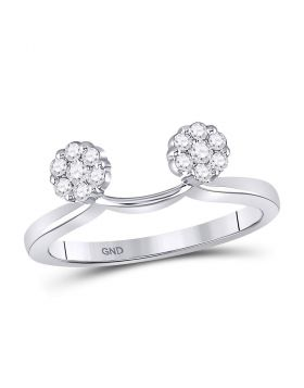 14kt White Gold Womens Round Diamond Double Cluster Solitaire Enhancer Wedding Band 1/4 Cttw