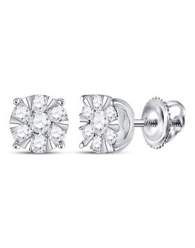 14kt White Gold Womens Round Diamond Flower Cluster Earrings 1/2 Cttw