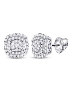 14kt White Gold Womens Round Diamond Square Frame Cluster Earrings 1/2 Cttw