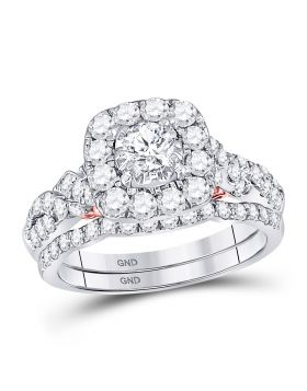 14kt Two-tone Gold Womens Round Diamond Bellissimo Bridal Wedding Engagement Ring Band Set 1-1/2 Cttw
