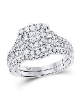 14kt White Gold Womens Princess Diamond Soleil Bridal Wedding Engagement Ring Band Set 1.00 Cttw