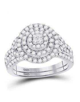 14kt White Gold Womens Princess Diamond Soleil Bridal Wedding Engagement Ring Band Set 3/4 Cttw