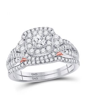 14kt Two-tone Gold Womens Round Diamond Bellissimo Bridal Wedding Engagement Ring Band Set 1.00 Cttw