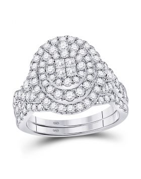 14kt White Gold Womens Princess Diamond Soleil Bridal Wedding Engagement Ring Band Set 1-1/4 Cttw
