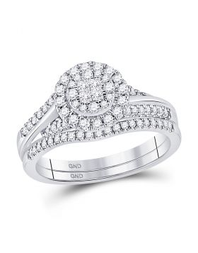 14kt White Gold Womens Princess Diamond Soleil Bridal Wedding Engagement Ring Band Set 1/2 Cttw