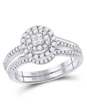 14kt White Gold Womens Princess Diamond Soleil Bridal Wedding Engagement Ring Band Set 1/2 Cttw