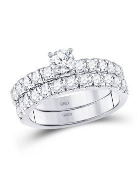 14kt White Gold Womens Round Diamond Bridal Wedding Engagement Ring Band Set 1-1/3 Cttw