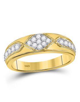 14kt Yellow Gold Unisex Round Diamond Milgrain Wedding Band Ring 1/2 Cttw