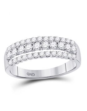 14kt White Gold Womens Round Diamond Triple Row Band Ring 3/4 Cttw