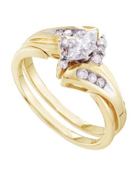 14kt Yellow Gold Womens Marquise Diamond Bridal Wedding Engagement Ring Band Set 1/4 Cttw