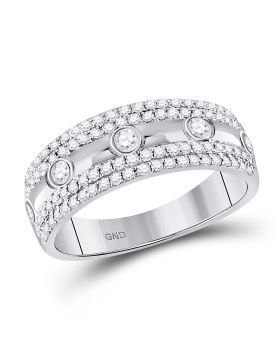 10kt White Gold Womens Round Diamond Band Ring 1/2 Cttw