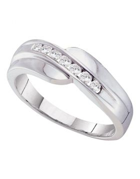 14kt White Gold Unisex Round Channel-set Diamond Curved Wedding Band Ring 1/4 Cttw