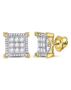 10kt Yellow Gold Unisex Round Diamond Square Cluster Stud Earrings 3/4 Cttw