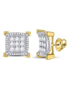 14kt Yellow Gold Unisex Round Diamond Square Frame Cluster Earrings 1.00 Cttw
