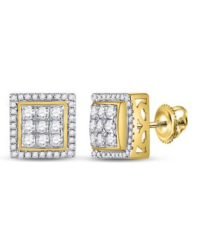 10kt Yellow Gold Unisex Round Diamond Square Cluster Stud Earrings 1.00 Cttw