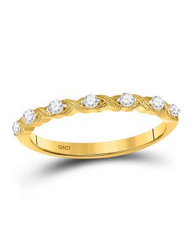 14kt Yellow Gold Womens Round Diamond Stackable Band Ring 1/8 Cttw