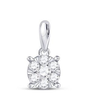 14kt White Gold Womens Round Diamond Flower Cluster Pendant 1/4 Cttw