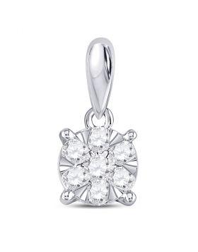 14kt White Gold Womens Round Diamond Flower Cluster Pendant 1/5 Cttw