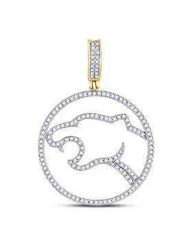 10kt Yellow Gold Unisex Round Diamond Panther Charm Pendant 1/2 Cttw