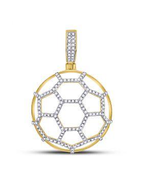 10kt Yellow Gold Unisex Round Diamond Soccer Ball Football Charm Pendant 1/2 Cttw