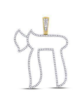 10kt Yellow Gold Unisex Round Diamond Jewish Hebrew Chai Charm Pendant 5/8 Cttw
