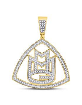 10kt Yellow Gold Unisex Round Diamond Maybach Music Group Charm Pendant 1/2 Cttw
