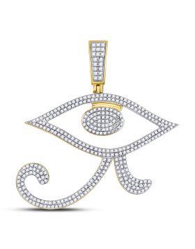 10kt Yellow Gold Unisex Round Diamond Eye of Ra Egyptian Charm Pendant 1.00 Cttw