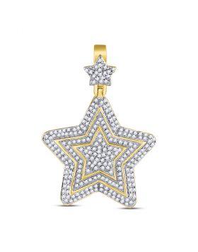 10kt Yellow Gold Unisex Round Diamond Concentric Star Charm Pendant 3/4 Cttw