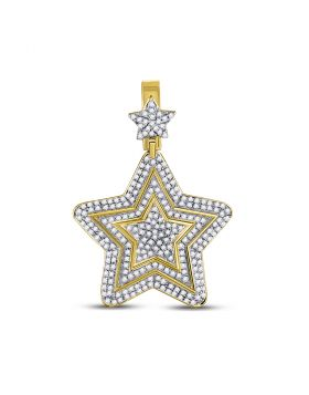 10kt Yellow Gold Unisex Round Diamond Concentric Star Charm Pendant 1-3/4 Cttw