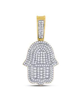 10kt Yellow Gold Unisex Round Diamond Hamsa Fatima Hand Charm Pendant 1-7/8 Cttw