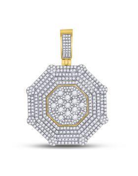10kt Yellow Gold Unisex Round Diamond Octagon Cluster Charm Pendant 3-7/8 Cttw