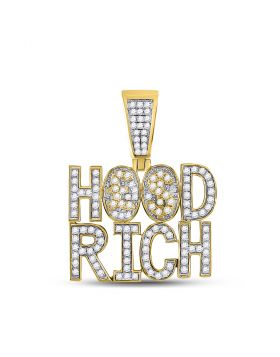 10kt Yellow Gold Unisex Round Diamond Hood Rich Charm Pendant 1-3/4 Cttw