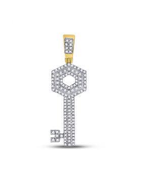 10kt Yellow Gold Unisex Round Diamond Key Charm Pendant 1/2 Cttw