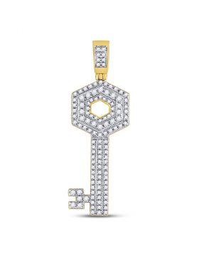 10kt Yellow Gold Unisex Round Diamond Key Charm Pendant 5/8 Cttw