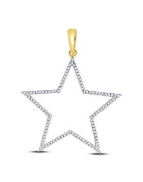 10kt Yellow Gold Unisex Round Diamond Star Outline Charm Pendant 1/3 Cttw