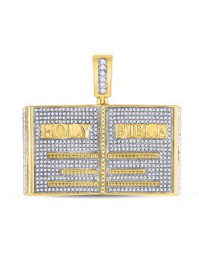 10kt Yellow Gold Unisex Round Diamond Holy Bible Charm Pendant 1-3/4 Cttw