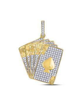 10kt Yellow Gold Unisex Round Diamond Poker Royal Flush Spade Card Charm Pendant 5/8 Cttw
