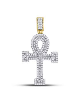 14kt Yellow Gold Unisex Round Diamond Ankh Cross Charm Pendant 1-5/8 Cttw