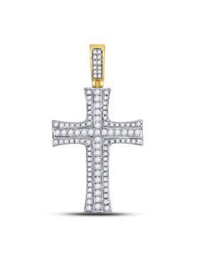 14kt Yellow Gold Unisex Round Diamond Cross Charm Pendant 1-1/2 Cttw